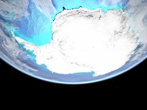Antarctica from space on Earth. Antarctica from space. Very high detail of Earth surface with visible mountains and shallow seas. 3D illustration. Elements of vector illustration