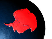 Antarctica from space. Antarctica highlighted in red on model of planet Earth with very detailed land surface and visible city lights. 3D illustration. Elements royalty free illustration