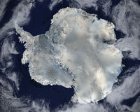 Antarctica Space Satellite View, Snow, Ice. The continent of Antarctica can be seen in this satellite space view. Nice background view of the world we call royalty free stock photography