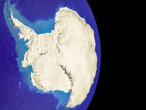 Antarctica on planet Earth. Antarctica from space with visible country borders. Extremely fine detail of the plastic planet surface with mountains. 3D vector illustration