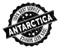 Antarctica Best Service Stamp with Grunge Texture. Antarctica stamp with Best Quality caption. Vector black seal print imitation with scratched style. Reward stock illustration