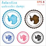 Antarctica stamp. Watercolor country stamp with map. Vector illustration vector illustration