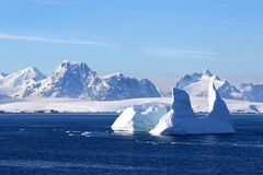 Antarctica on a Sunny day- Antarctic Peninsula - Huge Icebergs stock photo