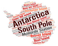 Antarctica top travel destinations word cloud Royalty Free Stock Photography