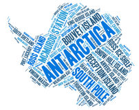 Antarctica top travel destinations word cloud Royalty Free Stock Photo