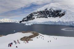 Antarctica - Tourists on Neko Island. Tourists make a shore landing at Neko Island in Antarctica Stock Photos