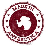 Antarctica vector seal. Vintage country map stamp. Grunge rubber stamp with Made in Antarctica text and map, vector illustration royalty free illustration