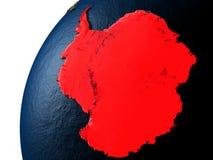 Antarctica w czerwieni na ziemi przy nocą ilustracji