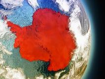 Antarctica w czerwieni od przestrzeni ilustracja wektor
