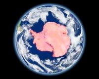 Antarctica w czerwieni od przestrzeni Obrazy Royalty Free