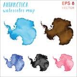 Antarctica watercolor country map. Handpainted watercolor Antarctica map set. Vector illustration vector illustration
