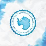 Antarctica watercolor round rubber stamp with. Antarctica watercolor round rubber stamp with country map. Turquoise Antarctica passport stamp with circular text royalty free illustration