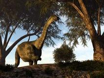 Antarctosaurus dinosaur - 3D render. Antarctosaurus dinosaur walking among tamaris trees - 3D render vector illustration