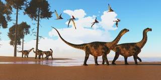Antarctosaurus Dinosaur Seashore stock photos