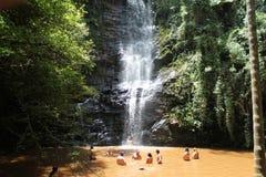 Antares瀑布在São Thomé das Letras,米纳斯吉拉斯州-巴西 库存照片