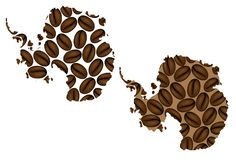 Antarktis - översikt av kaffebönan royaltyfri illustrationer