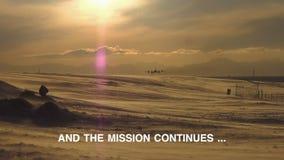 Antarktis huvuddel flyg- glaci?rsikt Solnedg?ng lager videofilmer