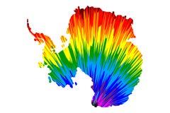 Antarktis kontinent - översikten är den planlagda abstrakta färgrika modellen för regnbågen royaltyfri illustrationer