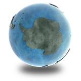 Antarktis på marmorplanetjord Arkivfoto
