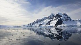 Antarktisk natur: snö-korkade berg reflekterade i havet stock video