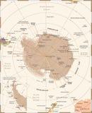 Antarktyczna region mapa - rocznika wektoru ilustracja royalty ilustracja