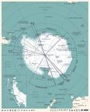 Antarktyczna region mapa - rocznika wektoru ilustracja ilustracja wektor