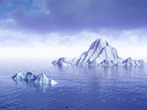 AntarPlus. Big antarctic  icebergs - 3d scene Royalty Free Stock Image