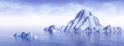 AntarPlus_P. Big antarctic  iceberg - 3d landscape scene Royalty Free Stock Photo