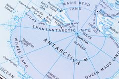 Antartica on a map. Close up of a world map with the word Antartica in focus Stock Image