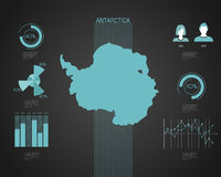 Antartica map - Illustration. Antartica World map with different colored continents - Illustration Stock Photo