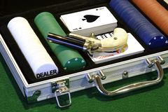 Ante Up. Poker set in a velvet lined aluminum case.  Cards, chips, dice, and a derringer Stock Photo