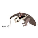 Anteater που τρώει το χαρακτήρα κινουμένων σχεδίων μυρμηγκιών Στοκ εικόνες με δικαίωμα ελεύθερης χρήσης