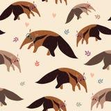 Anteater bezszwowy wzór Obrazy Royalty Free