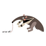 Anteater eating ants cartoon character. Royalty Free Stock Images