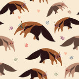 Anteater seamless pattern Royalty Free Stock Images