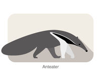 anteater walking and seaching, side view vector Royalty Free Stock Images