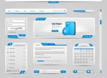 Antecedentes de Gray And Blue On Light de los elementos de controles del web UI: Barra de navegación, botones, menú, vídeo EPS 10 Imagen de archivo