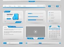 Antecedentes de Gray And Blue On Light de los elementos de controles del web UI: Foto de archivo libre de regalías