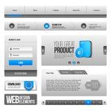 Antecedentes de Gray And Blue On White de los elementos de controles del web UI: Barra de navegación, botones, forma, resbalador, Imagen de archivo libre de regalías