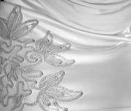 Antecedentes de seda blancos del cordón. Foto de archivo