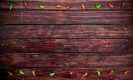 Antecedentes: Decoraciones de la pimienta de Chile en el tablero de la mesa mexicano foto de archivo libre de regalías
