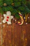 Antecedentes del día de fiesta de la Navidad Hombre de pan de jengibre Imagen de archivo