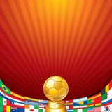 Antecedentes del fútbol. Taza con la bandera de equipos nacionales Imagen de archivo libre de regalías