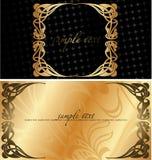 Antecedentes negros y de oro de la cubierta. Imagenes de archivo