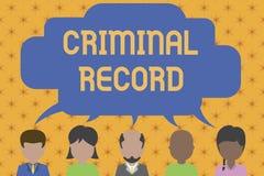 Antecedentes penales del texto de la escritura de la palabra Concepto del negocio para el perfil de una historia criminal de demo ilustración del vector