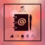 Anteckningsbok, adress, telefonkatalog med emailsymbol och pennsymbol Arkivbilder