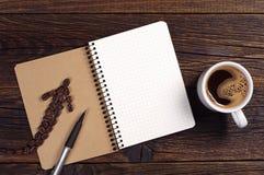 anteckningsbok för kaffekopp Royaltyfri Foto