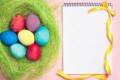 Anteckningsbok med ägg för hipsterecopåsk i rede arkivbild