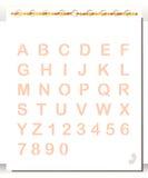 Anteckningsbok med alfabet och nummer stock illustrationer