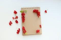 Anteckningsbok med den röda ramen arkivbilder
